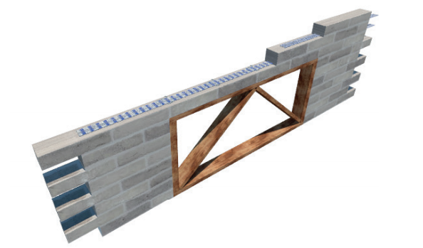 Masonry reinforcement stretcher course